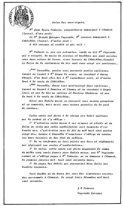 07 Reproduction dactylographiée d'un acte de vente de masse de pierre en 1860 (Coll. Mme Lance)