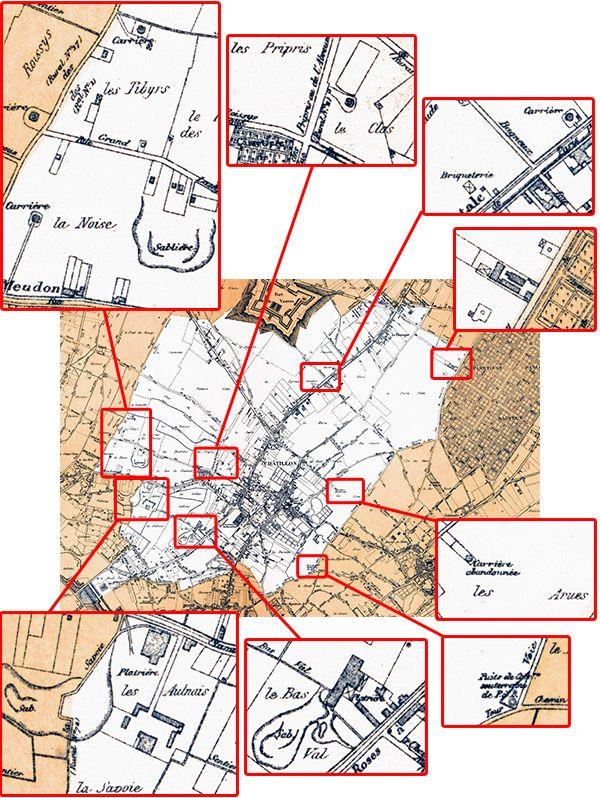 09 Atlas des communes du département de la Seine (1900). localisation des carrières de pierre, plâtrières.