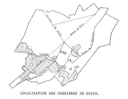 17 Plan de localisation des carrières de gypse ou pierre à plâtre