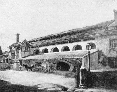 18 Plâtrière Beaumont vers 1900 à l'emplacement de la rue Jeanne d'Arc. Reproduction d'un tableau de Léon Jouenne parue dans le Bulletin Municipale de Châtillon en 1939