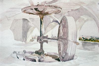 23 Roue pour écraser le plâtre (Aquarelle Léon Jouenne)