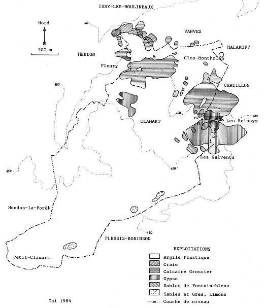 5 Localisation des exploitations minérales à Clamart.