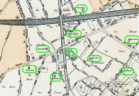 11 Localisation des carrières de pierre selon l'Atlas de 1900, partie Ouest