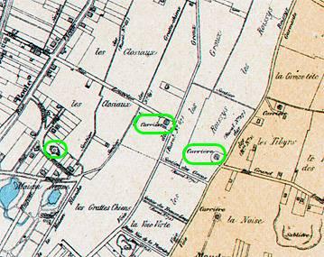 12 Localisation des carrières de pierre selon l'Atlas de 1900, partie Est