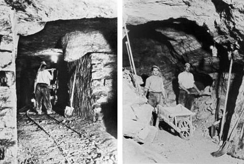 28 Chemin et atelier d'extraction dans la carrière de gypse des Galvents
