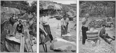 36 Travail du grès : forage d'un trou de mine, taille des blocs à la masse, taille du pavé au baquet